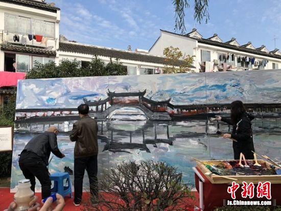 现场创作巨幅油画作品