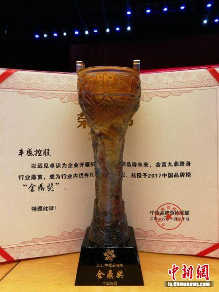 """丰盛控股荣获2017中国品牌榜""""金鼎奖"""""""