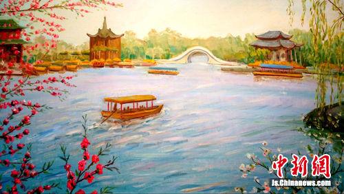 """图为乌克兰油画大师笔下的""""瘦西湖"""",给人梦幻般的感受。"""
