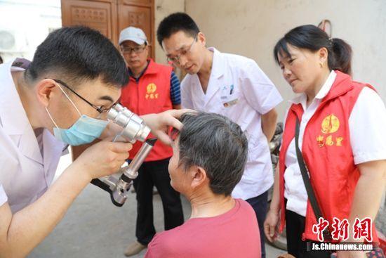 志愿者为患者检查眼睛