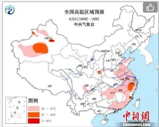 图为6日起,高温从东北、华北渐渐消退,转战黄淮和华南地区。气象部门 供图