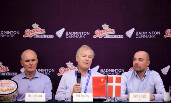 丹麦队CEO Bo(左) 、丹尼诗CEO Erik(中)、丹麦驻沪总领事Jakob(右)。