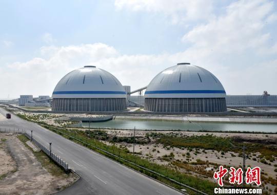 两个巨大的穹顶储煤仓。滨海县委宣传部供图