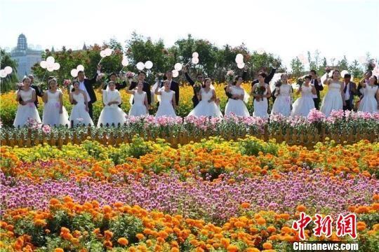 荷兰花海集体婚礼。