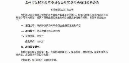 """常州回应""""1250万购金质奖章"""":提升企业家荣誉感"""