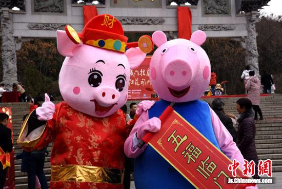 """萌宠""""佩奇""""现身挂春联现场,为猪年春节带来生机活力。"""