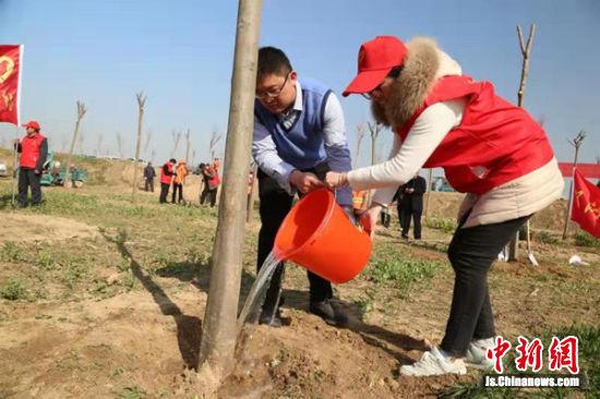 为树苗浇水。