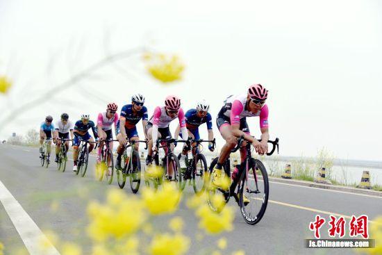 自行车赛第一方队经过美丽的骆马湖畔环湖赛道。