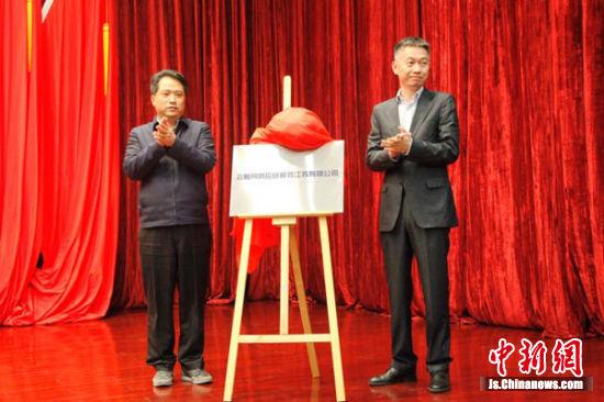 宜兴环科园企业高质量发展大会中的揭牌环节。