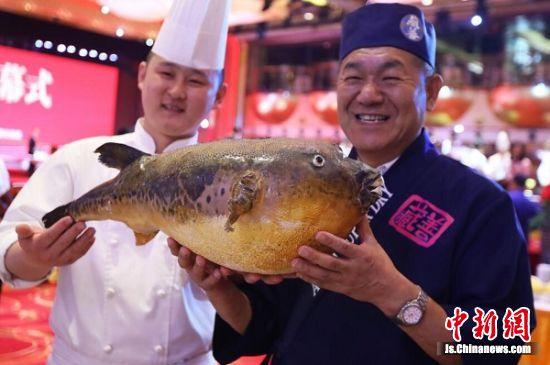 来自日本的烹饪大师小林金二(右)和工作人员一同展示河豚鱼标本。 泱波 摄