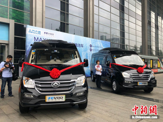 图为无锡新启用的燃料电池客车。