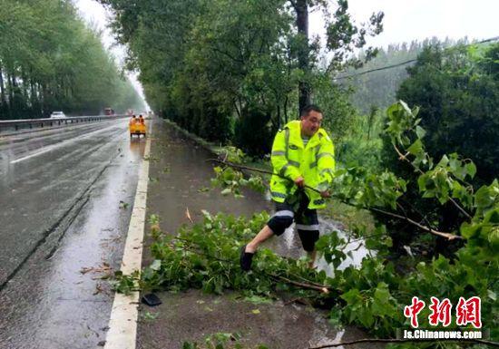 大风大雨导致路边大树倒伏,交警雨中徒手处理险情。