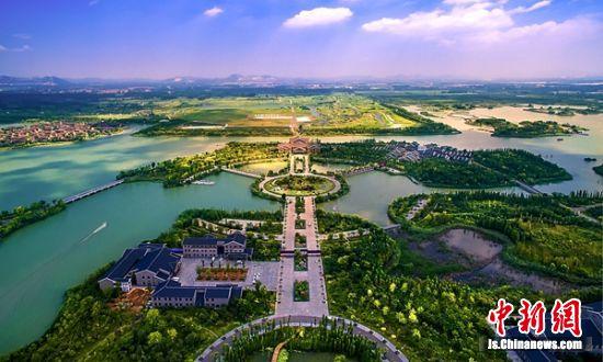 航拍潘安湖。 贾汪宣传部供图