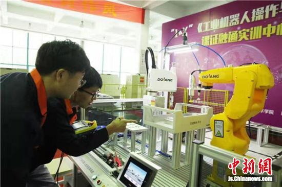 图为学生在机器人相关课程的学习中。
