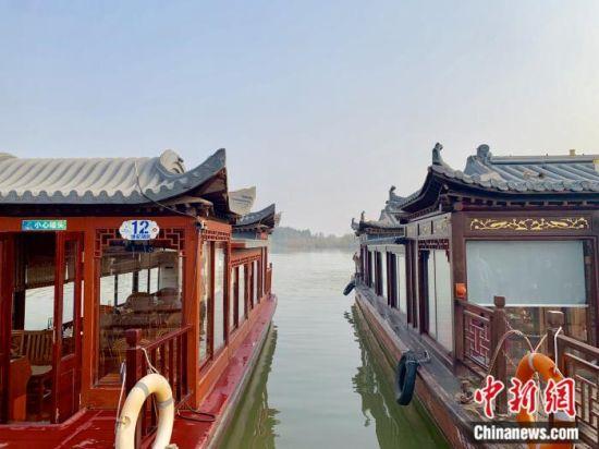 江苏徐州贾汪区潘安湖景区游船码头。中新网 张奥林 摄