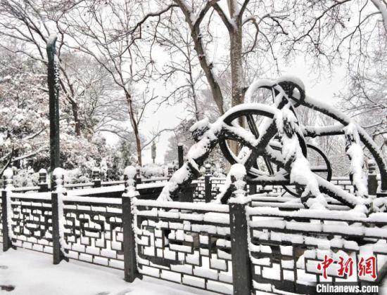 紫金山天文台的新年首场降雪。 樊莉平 摄