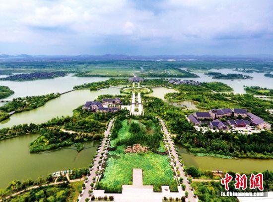 空中鸟瞰潘安湖湿地公园。 贾汪区委宣传部供图